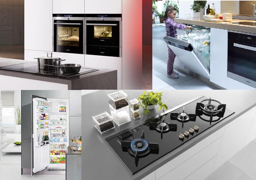 Van links naar rechts/ boven naar onder: Siemens, Miele, Liebherr en Atag. Keukenapparatuur | Kuys Keukens